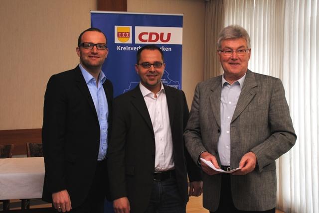 Jens Spahn MdB, CDU-Kreisvorsitzender; Thomas Kerkhoff, JU-Kreisvorsitzender; Stefan Hegering, SenU-Kreisvorsitzender